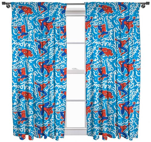 MARVEL SPIDER MAN POPART 66 x 54 PENCIL PLEAT CURTAINS CHARACTER BLUE WHITE